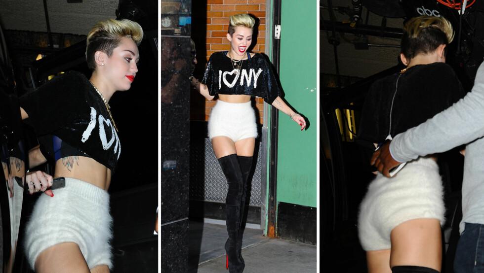 """HÅRETE TRUSE: """"Hannah Montana""""-stjernen er ikke redd for å skille seg ut. Hun var kledd i strikket shorts i hårete ull. Flere mener det ligner på en bleie. Antrekket ble ikke mindre oppsiktsvekkende av at hun kombinerte med magetopp og lårhøye boots Foto: All Over Press"""