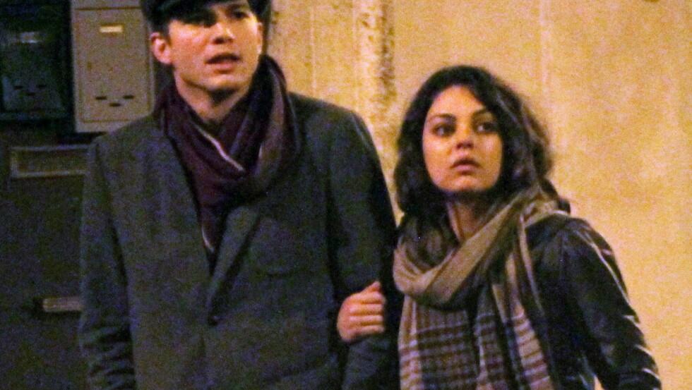 PÅ HUSJAKT: Ashton Kutcher blir med kjæresten Mila Kunis på flyttelasset til London. Foto: All Over Press