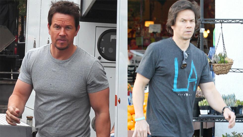 SJOKKFORANDRING: I sommer var Mark Wahlberg topptrent for rollen i «Transformers». Ved å spise mindre og endre treningsprogrammet har han i dag en mindre muskuløs fysikk.