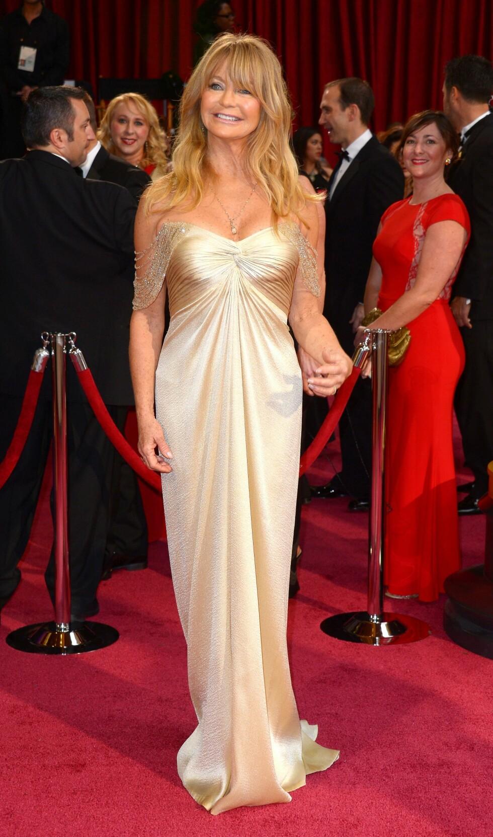 Goldie Hawn (68) var et eneste stor smil. Foto: REX/Stewart Cook/All Over Press