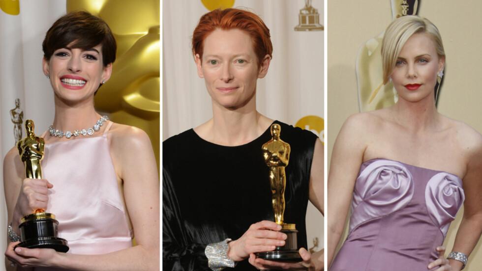 UHELDIGE: Både (f.v) Anne Hathaway - i fjor, Tilda Swinton - i 2008 og Charlize Theron - i 2010, har gjort lite flatterende kjolevalg på Oscar-utdelingen de senere årene. Et par Oscar-statuetter er imidlertid aldri «feil» tilbehør.  Foto: Stella Pictures/ All Over Press