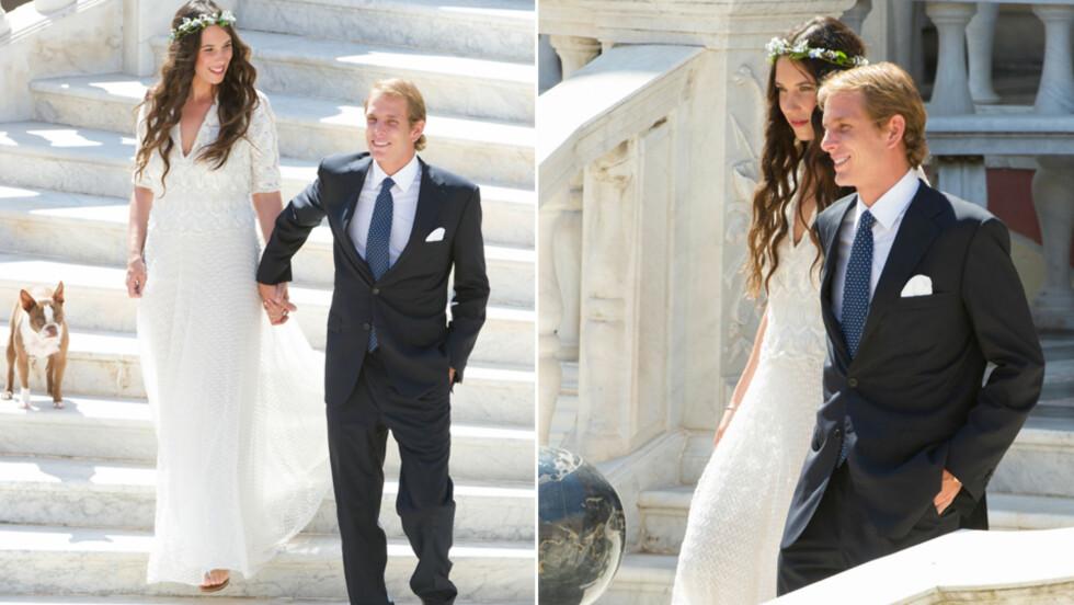 BRYLLUP: Andrea Casiraghi og Tatiana Santo Domingo giftet seg i fjor sommer i Monaco med bikkja som brudepike.  Foto: All Over Press