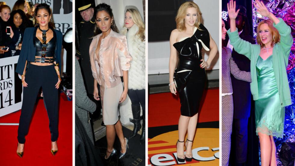 KJOLESKIFT: Nichole Scherzinger ankom Brit Awards i sorte bukser og en frekk skinntopp og kom på etterfesten i en pudderrosa minikjole med matchende skinnjakke. Kylie Minogue dro på prisutdeling i en sort kjole med sløyfe på skulderen og skrudde senere opp partyfaktoren i en smaragdgrønn silkekjole.  Foto: All Over Press