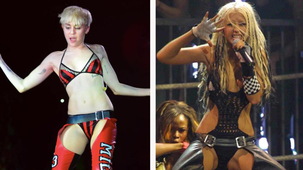 KOPIERER CHRISTINA: Det er lett å se at Miley har hentet inspirasjon fra Christina Aguileras antrekk i musikkvideoen «Dirrty» fra 2002. Foto: All Over Press