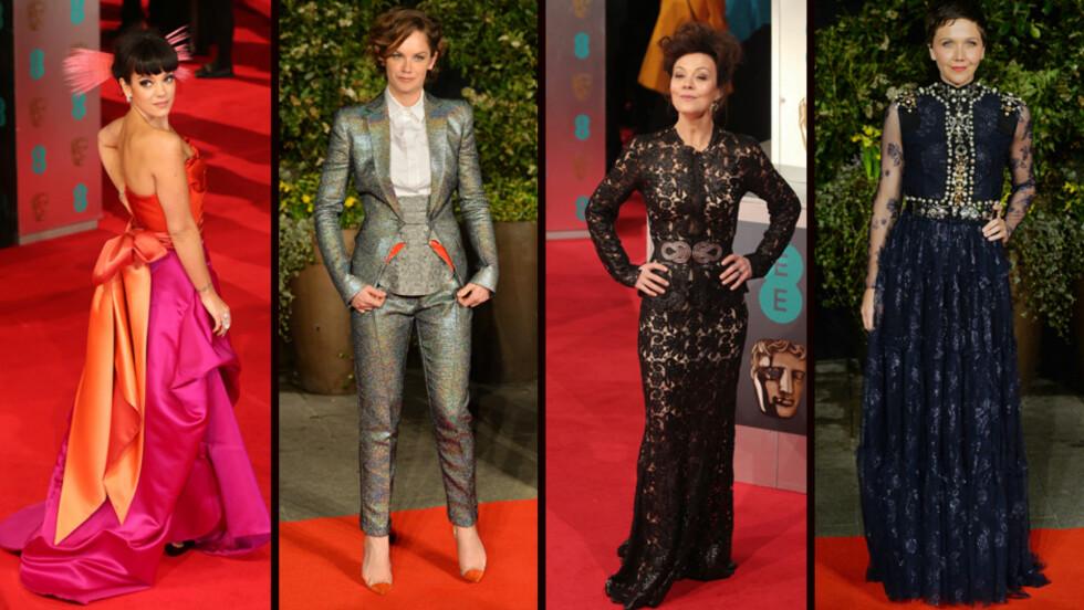VERST KLEDD: Lily Allen, Ruth Wilson, Helen McCrory og Maggie Gyllenhaal havnet alle på listen over de verst kledde kjendisene under prisutdelingen BAFTA søndag kveld.