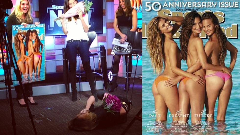 SLÅTT I BAKKEN: Christine Teigen ble overrasket da hun fikk se den nye forsiden av Sports Illustrated Swimsuite for 2014.