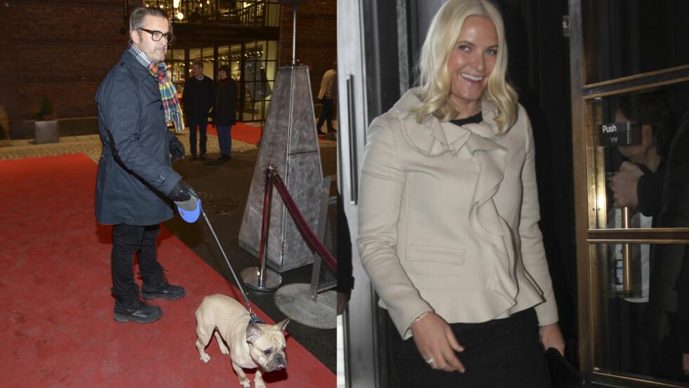 MED BIKKJE: Thomas Seltzer kom med bikkje på den røde løperen, mens Mette-Marit gikk bakveien. Bildet av kronprinsessen er fra tidligere på dagen da hun ved lansering av magasinet Faktafyk i kulturhuset i Oslo.  Foto: Stella pictures