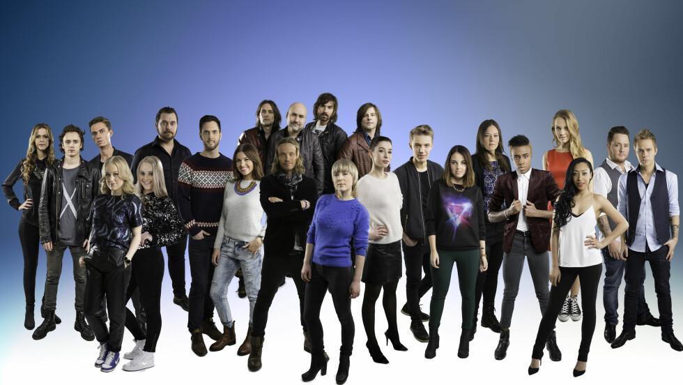 DELTAGERNE: Disse deltar i årets Melodi Grand Prix.  Foto: Kim Erlandsen/NRK