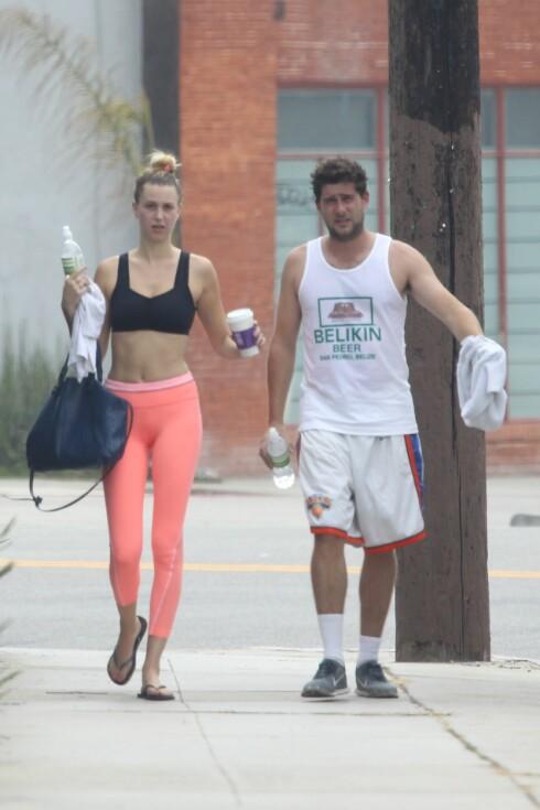 SPORTY: Whitney Port og Tim Rosenman etter en spinningtime på et treningsstudio i Venice Beach. Foto: Splash News/ All Over Press