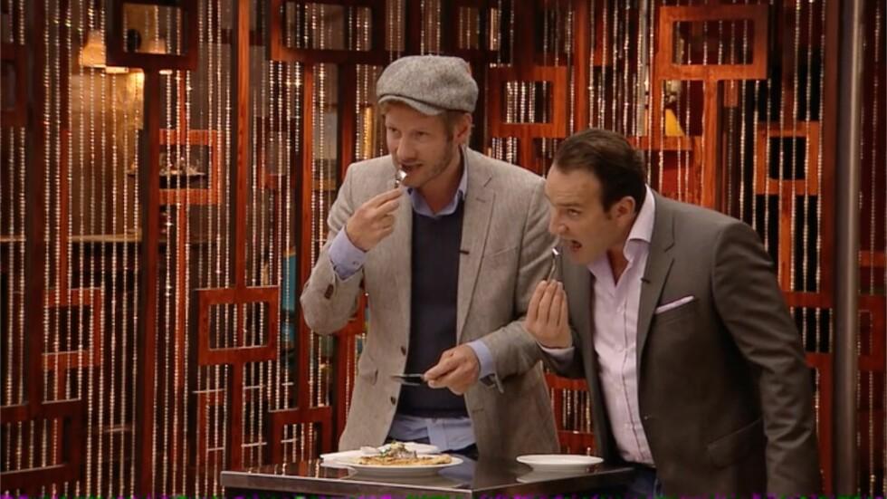 STRENGE DOMMERE: Linnis mat skal bedømmes av Kjartan Skjelde, Gregory Paul og Eyvind Hellstrøm. Foto: TV3