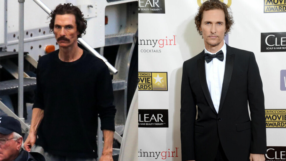 DA OG NÅ: På settet til filmen «The Dallas Buyers Club» (til venstre) veide Matthew McConaughey bare 62 kilo. Nå, etter at innspillingen er over, begynner han å bli mer gjenkjennelig.  Foto: All Over