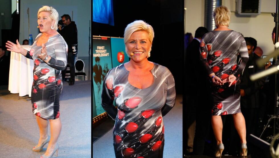 SKAPER TREND: Siv Jensens leppestiftkjole fra valgvaka er designet i Italia og kostet 1399 kroner. Butikkene ble tomme for kjolen, men kritikerne var ikke nådige med kjolen som ble kjøpt på Brynsenteret. Foto: NTBScanpix