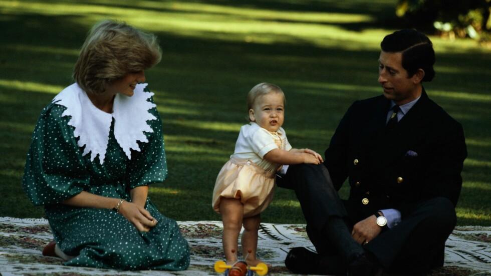 NÆRE BÅND: Prins William med sin mor prinsesse Diana og far prins Charles i sitt første år. Foto: All over press