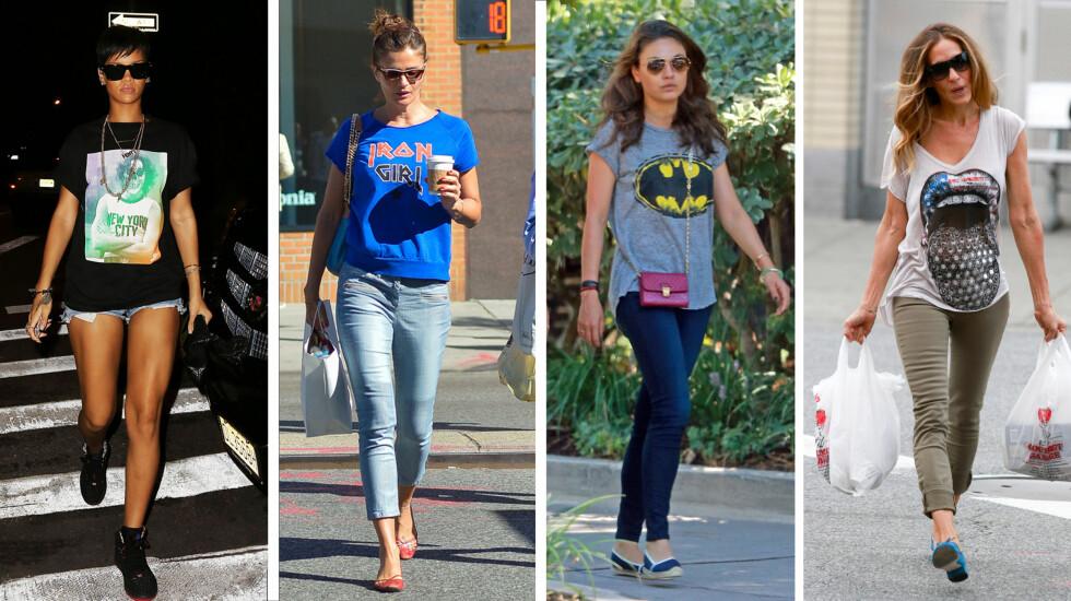 Rihanna i t-skjorte med New York-print, supermodell Helena Christensen i Iron Girl-tee, Mila Kunis i Batman-trøye fra Lauren Moshi, og Sarah Jessica Parker i flekke-tenner-t-skjorte.   Foto: All Over, FameFlynet