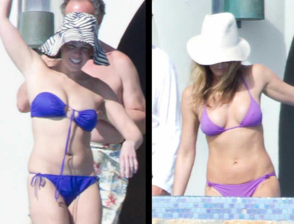MISUNNELIG?: Chelsea Handler (t.v) ville ikke bli avbildet i bikini med venninnen Jennifer Aniston forrige helg. Her er de to fotografert på ferien i Los Cabos.  Foto: Stella Pictures