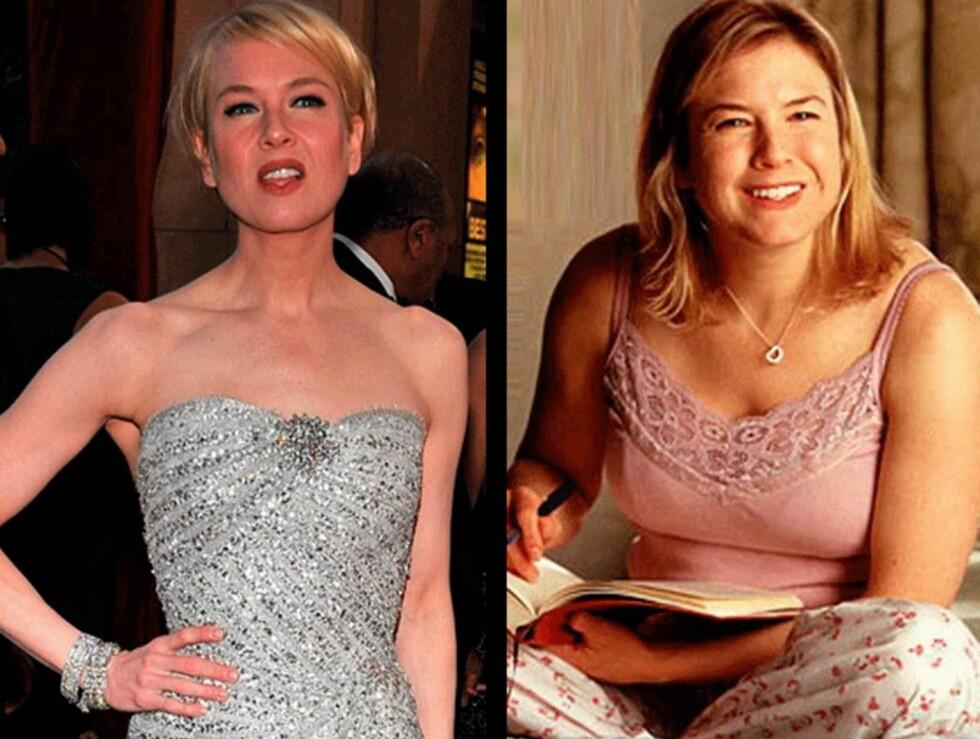 """MÅ LEGGE PÅ SEG: Når hun nå skal spille Bridget Jones for tredje gang, må radmagre Renee legge på seg igjen. Her slik hun ser ut """"til vanlig"""", samt fra den første Bridget Jones-filmen (til høyre)."""