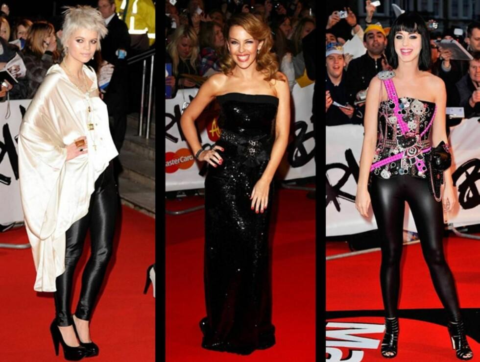 HOT OR NOT? Pixie, Kylie og Katy var alle tilstede under onsdagens Brit Awards.