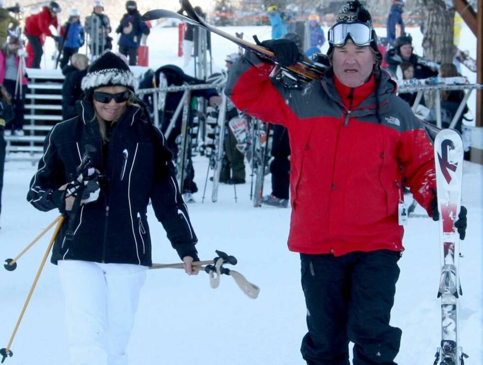 <strong>ELSKER ASPEN:</strong> Goldie Hawn og Kurt Russell tilbringer alltid julen på det eksklusive skistedet. Foto: All Over Press