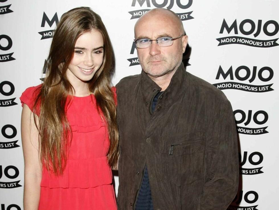DØRÅPNER: Lily innrømmer at hun ikke så så mye til sin berømte far i oppveksten, men har skjønt at Collins-navnet åpner dører... Foto: All Over Press