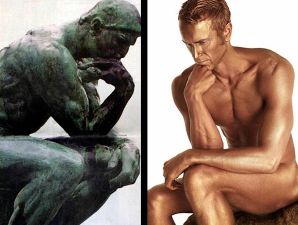 "FOR KUNSTEN: Mark Foster stilte opp naken som Rodins ""The Thinker"" i forbindelse med the Big Lottery Funds ""Big Thinking""-arrangement.  Foto: Stella"