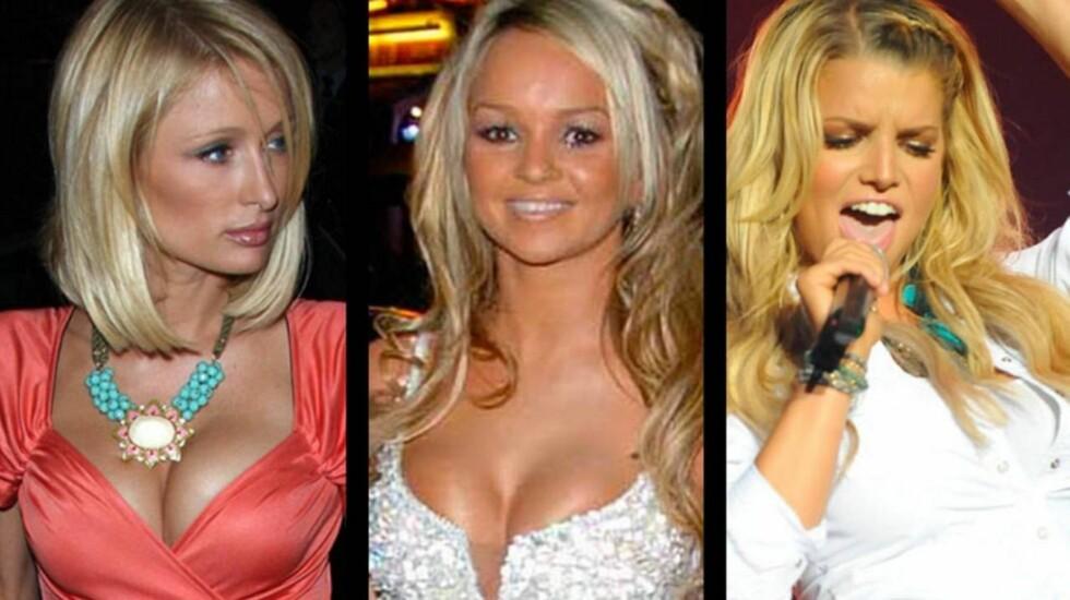 HETE BLONDINER: Både Paris, Jennifer Merna og Jessica Simpson ligger på Nuts-listen over verdens 50 heteste blondiner.