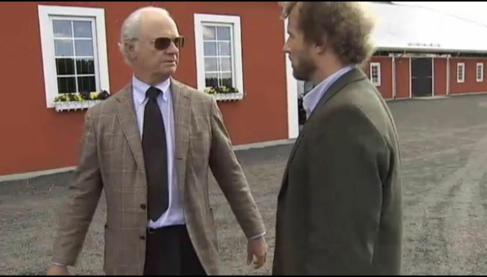 RASTE MOT REPORTER: - Kan dere aldri holde dere til sannheten innimellom. Fy fan, sa kong Carl Gustaf til den svenske TV-kanalen SVTs reporter.  Foto: SVT