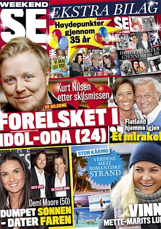 I SALG NÅ: I ukens Se og Hør Weekend kan du også lese om Kurt Nilsens nye flamme, Demi Moores kjærlighetsliv og mye mer! Foto: Faksimile Se og Hør