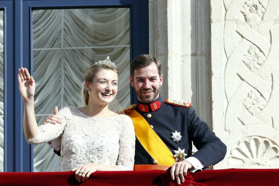 DRØMMEDAG: 20. oktober 2012 var det kronprins Guillaume og flotte Stephanie som giftet seg. Foto: All Over