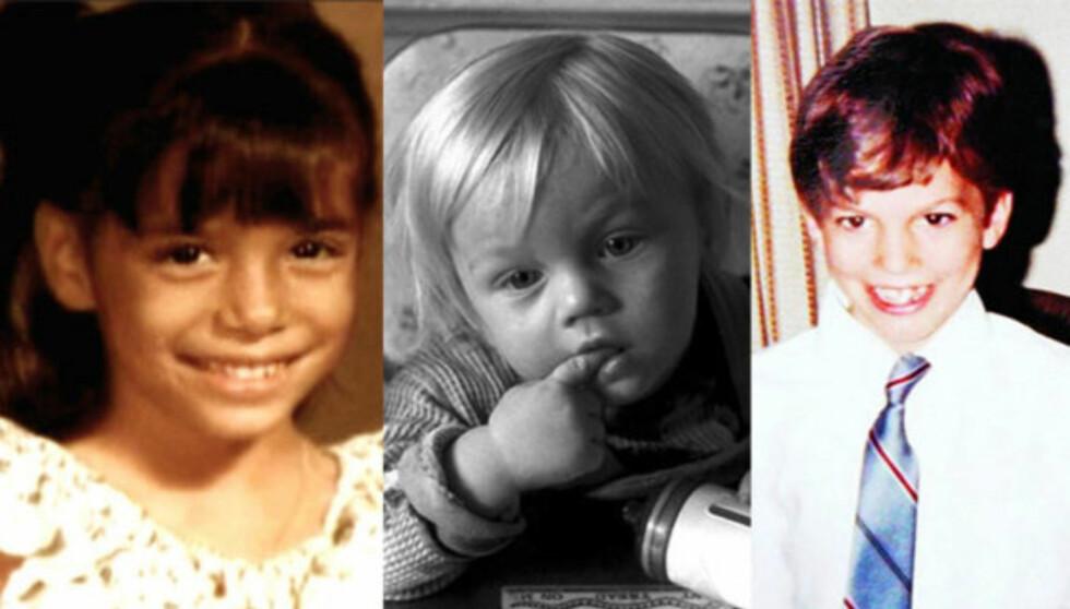SKUESPILLERTRIO: Eva Longoria, Leonardo DiCaprio og Ashton Kutcher som barn. Foto: Stella Pictures
