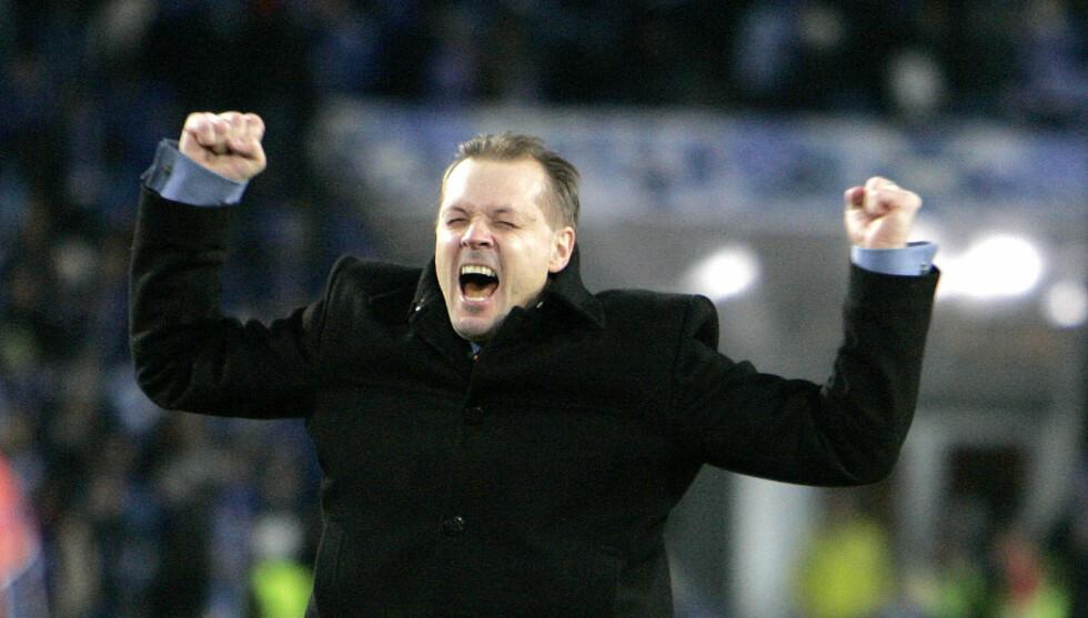 SUKSESS PÅ BANEN: Kjetil Rekdal er vant til å juble for suksess på fotballbanen, både som trener for Aalesund og VIF. Foto: Stella Pictures