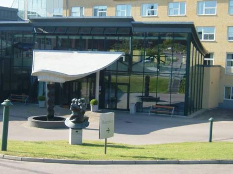 FIN INNGANG: Tylösand Hotell er stappfullt av kunst og alt er til salgs, med mulig unntak av utsmykningen ved inngangen. Foto: Erik Valebrokk