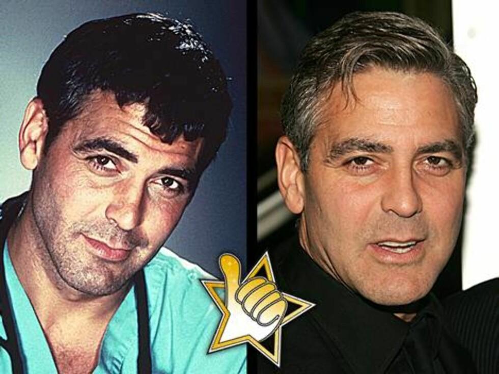 DISTINGVERT: Det er 10 år mellom de to bildene, men George Clooney holder stilen...