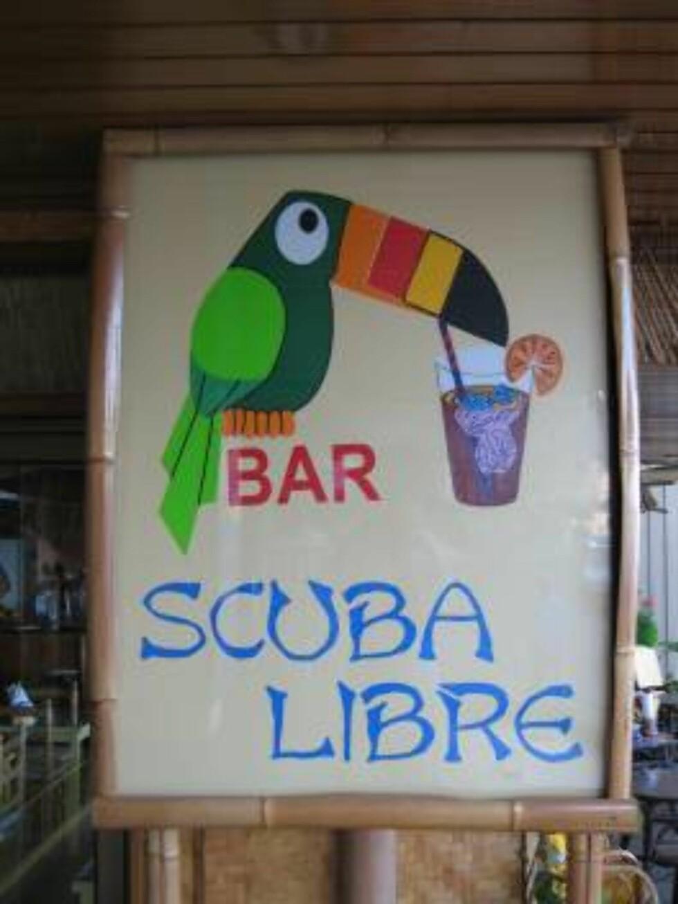 """VANNHULL: Vegg i vegg med """"Andreas Diving"""" ligger baren """"Scuba Libre"""". Her er det med andre ord rom for dypdykk på til vanns og på land. Foto: Per Tandberg"""