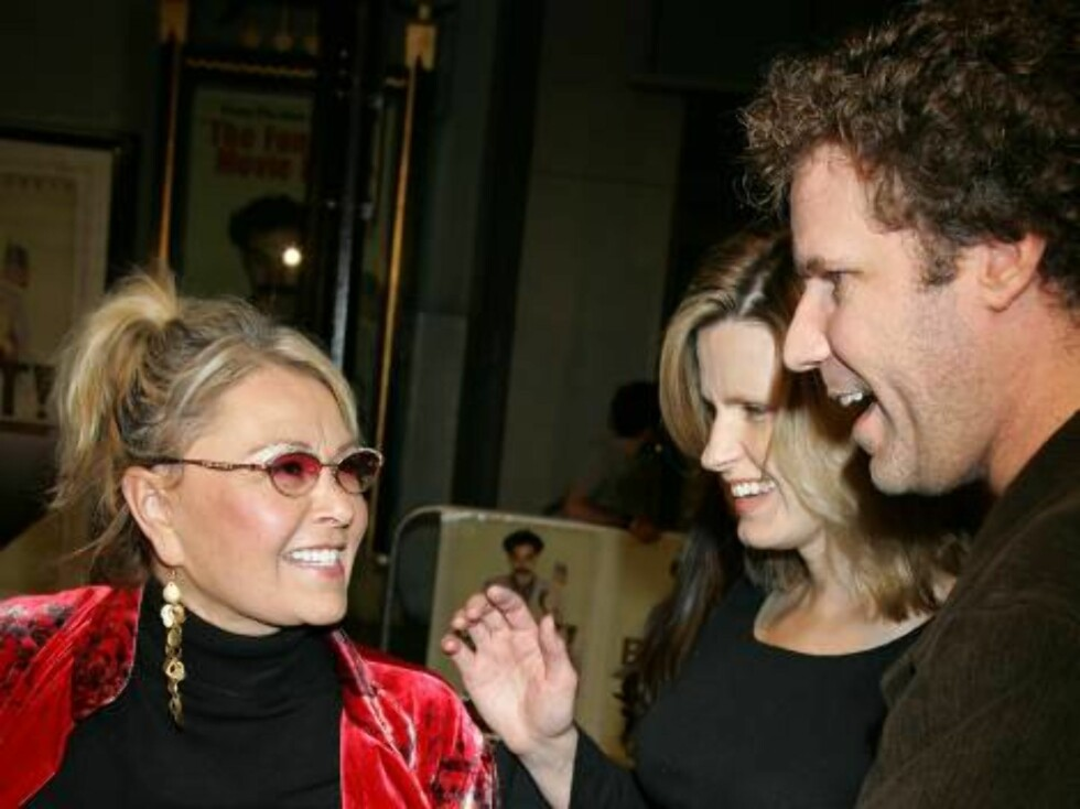 "HOLLYWOOD - OCTOBER 23:  Actress Roseanne Barr (L) with actor Will Ferrell (R) and wife Viveca Paulin arrive at the premiere of ""Borat: Cultural Learnings Of America"" held at the Grauman's Chinese Theatre on October 23, 2006 in Hollywood, California.  (Ph Foto: All Over Press"