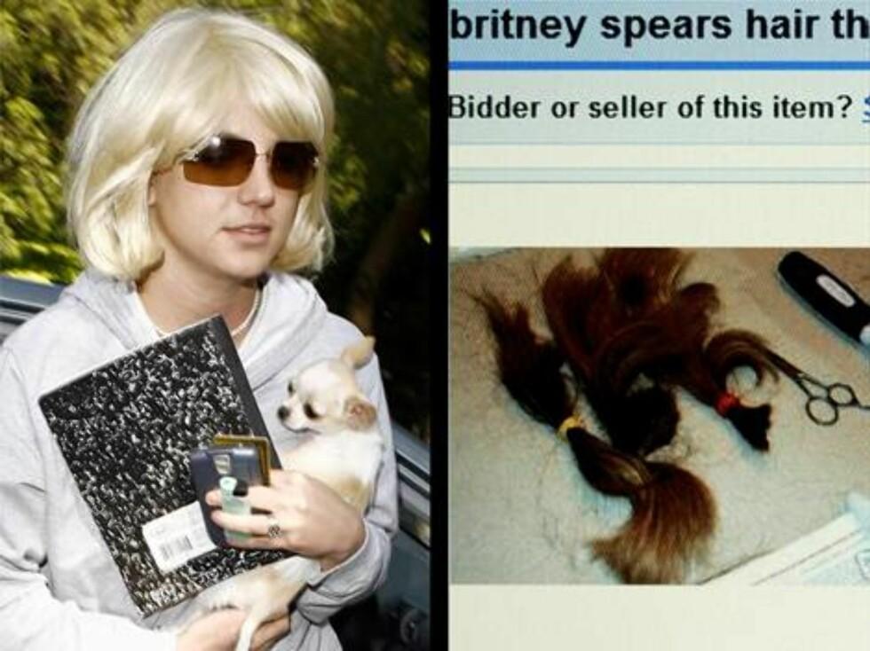 EBAY: Britney Spears rakte av seg alt håret, og kort tid etter lå lokkene for salg på nettet ... Foto: All Over Press