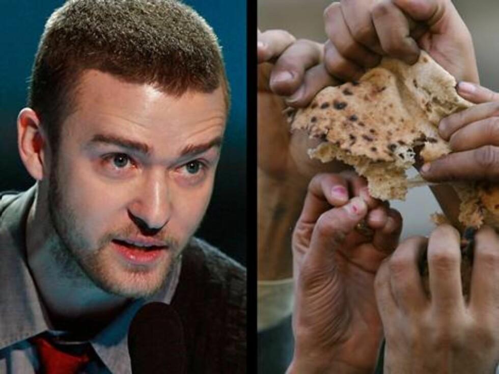 EBAY: Justin Timberlake spise ikke opp hele brødskiven sin under et radiointervju, og dermed bar den ut på eBay. Og prisen? 21.000 kroner ... Foto: All Over Press