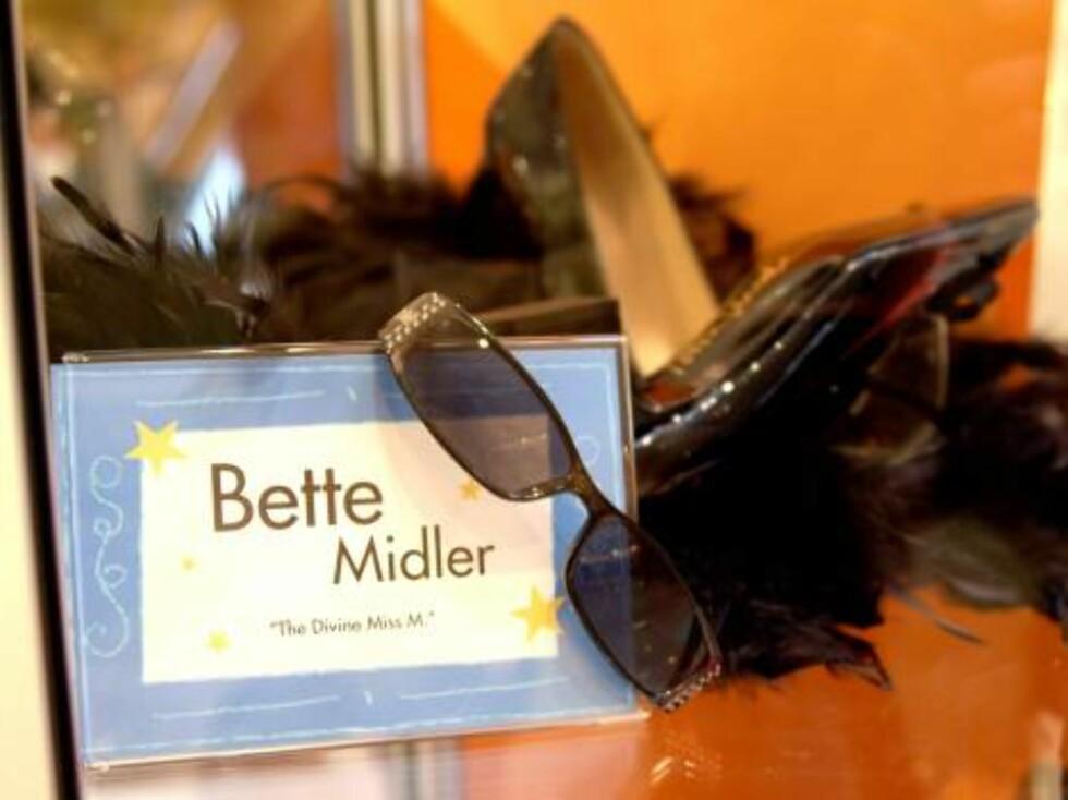 EBAY: Ikke alle kjendisting selges unødig. Bette Midler ga bort en hel del av sine private eiendeler til inntekt for en god sak. Foto: All Over Press