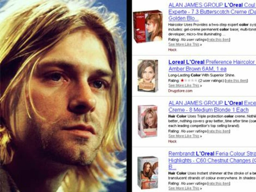 EBAY: Avdøde Kurt Cobain var en populær kar, faktisk så populær at hårfarge-flaskene hans ble solgt på nettet ... Foto: All Over Press