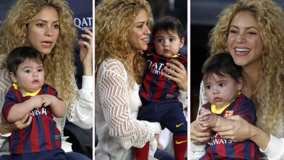 LITE SJARMTROLL: Mamma Shakira var tydelig stolt da hun tok med sønnen Milan på fotballkamp. Den lille var kledd i en miniutgave av pappas fotballdrakt.  Foto: FameFlynet