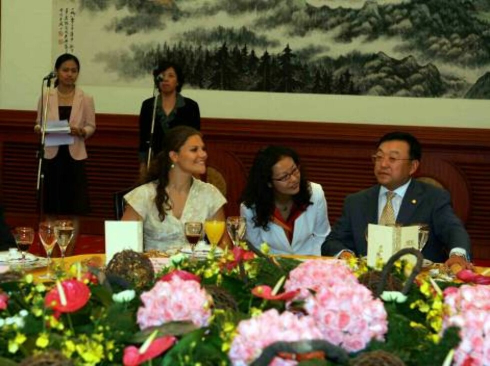 Shanghai 2006-08-29  Crown Princess Victoria and Prince Carl Philip of Sweden on a three day visit to Shanghai to welcome the Swedish East India trade ship replica Gotheburg when it arrives in Shanghai harbour.   Pictured: Picturure: Princess Victoria at Foto: Stella Pictures