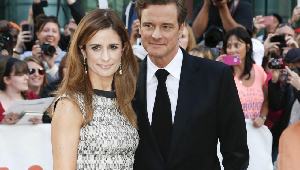 NÅ: Colin Firth og Livia på gallapremieren av «The Railway Man» i Toronto i Canada sist helg. Firth har, i liket med mange skuespillerkolleger, den siste tiden slanket seg for en filmrolle. Foto: Stella Pictures