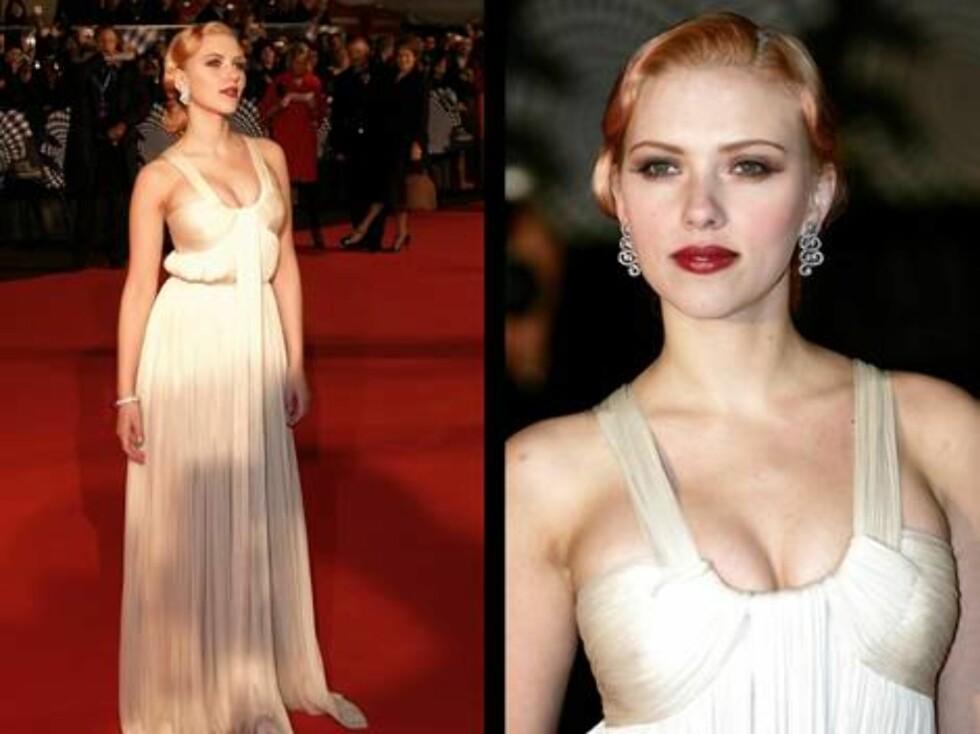 PÅ PREMIEREFEST:Scarlett Johansson glitret i sin hvite premierekjole. Foto: stella