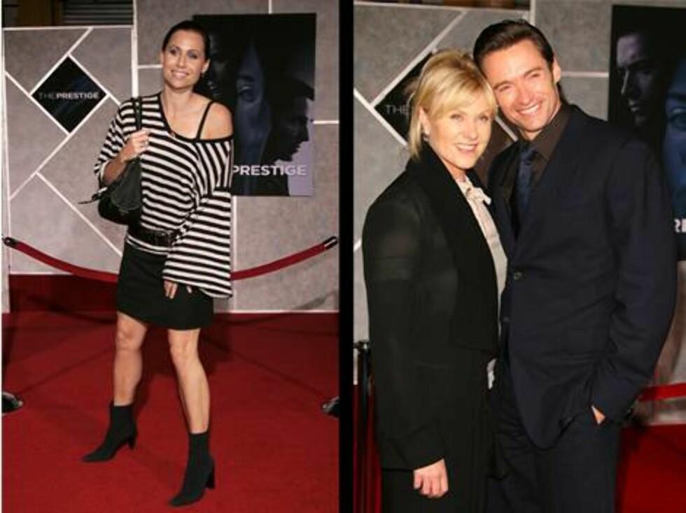 PÅ PREMIEREFEST: Skuespiller Minnie Driver, Deborah Lee Furness og Hugh Jackman. Foto: stella