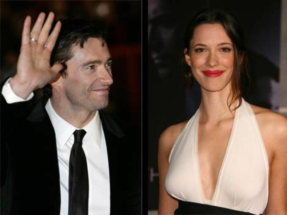 PÅ PREMIEREFEST: Hugh Jackman og Rebecca Hall. Foto: stella