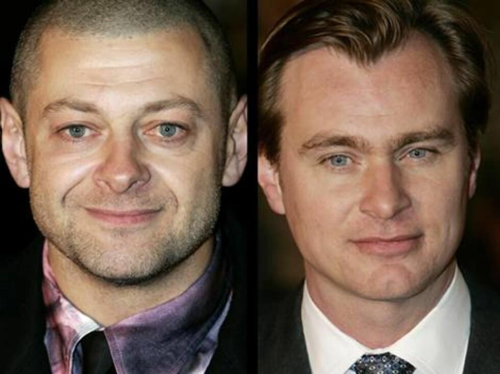 """PÅ PREMIEREFEST: Andy """"Gollum"""" Sorkis og regissør Christopher Nolan. Foto: stella"""