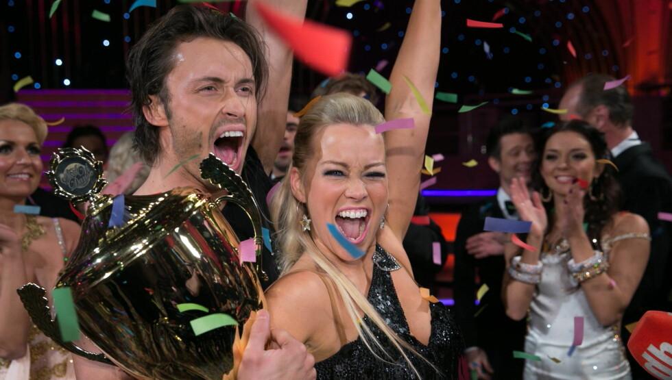 <strong>VINNERNE:</strong> I fjor vant Hanne Sørvaag sammen med dansepartneren Egor Filipenko. Foto: TV 2