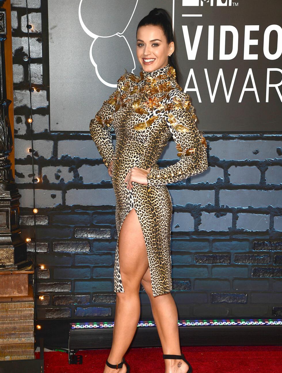 MTV MUSIC VIDEO AWARDS 2013: Popstjernen Katy Perry kjole med leopardprint fra Emanuel Ungaro. Foto: All Access Photo / Splash News/ All Over Press