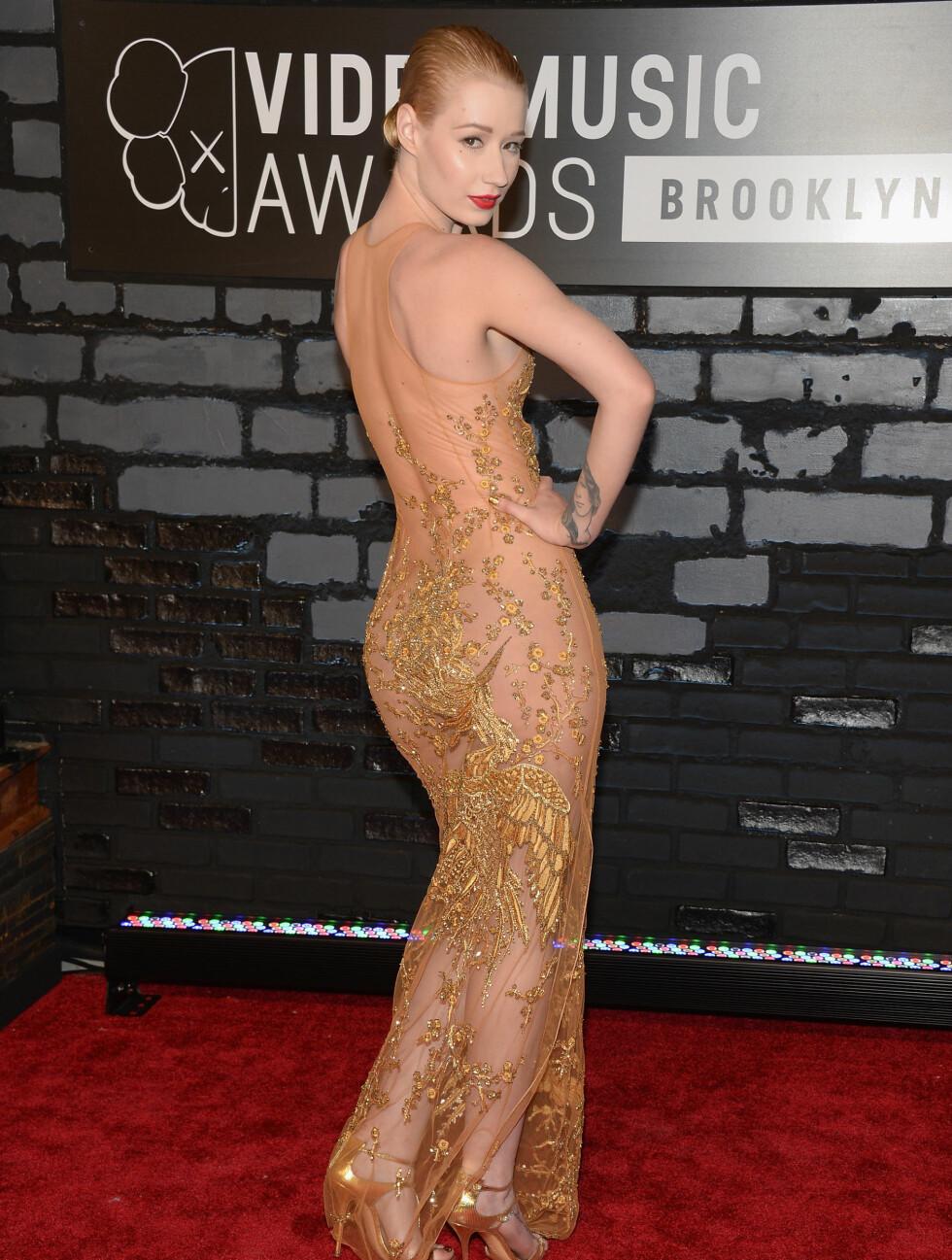 MTV MUSIC VIDEO AWARDS 2013: Den australske artisten Iggy Azaleas transparante kjole viste mye kropp og hud. Foto: Getty Images for MTV/Getty Images/All Over Press
