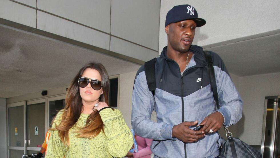 SEPARERT: Ekteskapet mellom Khloe Kardashian og Lamar Odom skal spille på de siste strengene etter at Khloe kastet ut Lamar onsdag forrige uke. Foto: FAME FLYNET