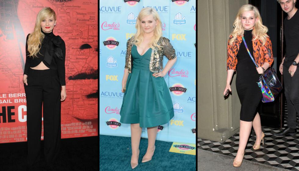 """NÅ: Abigail Breslin er blitt en trendy tenåring. På """"The Call""""-premiere tidligere i år stilte hun med helsort antrekk, bar mage og røde lepper. Under søndagens Teen Choice Awards var hun feminin i grønn kjole og paljetter. På kvelden skiftet hun t Foto: All Over"""